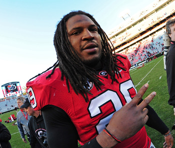 ATHENS, GA - NOVEMBER 17: Jarvis Jones #29 of the Georgia Bulldogs celebrates after the game against the Georgia Southern Eagles at Sanford Stadium on November 17, 2012 in Athens, Georgia. (Photo by Scott Cunningham/Getty Images)