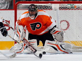 PHILADELPHIA, PA - APRIL 11: Ilya Bryzgalov #30 of the Philadelphia Flyers skates against the Ottawa Senators at the Wells Fargo Center on April 11, 2013 in Philadelphia, Pennsylvania.  (Photo by Bruce Bennett/Getty Images)