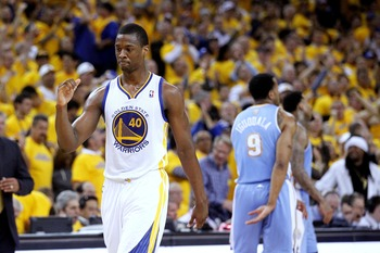 Apr 26, 2013; Oakland, CA, USA; Golden State Warriors forward Harrison Barnes (40) pumps his fist after the Warriors made a basket against the Denver Nuggets in the third quarter during game three of the first round of the 2013 NBA playoffs at Oracle Aren