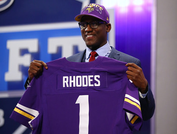 Xavier Rhodes recorded 39 tackles, two for loss, with three interceptions with Florida State in 2012.