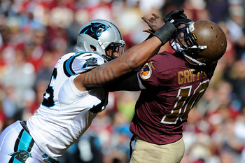LANDOVER, MD - NOVEMBER 04:  Greg Hardy #76 of the Carolina Panthers hits Robert Griffin III #10 of the Washington Redskins and is charged with a roughing-the-passer penalty during the first half at FedExField on November 4, 2012 in Landover, Maryland.  (