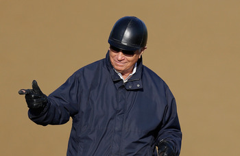 Trainer D. Wayne Lukas on track
