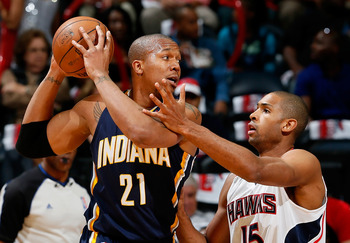 David West has been outclassed by Atlanta's Al Horford.