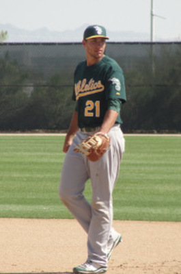 "Olson, the 6'4"" first baseman is heating up. (Photo Credit: AthleticsFarm.com)"