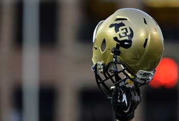 Nov 23, 2012; Boulder, CO, USA; General view of a Colorado Buffaloes helmet is lifted up during a late drive in the fourth quarter of the game against the Utah Utes at Folsom Field. The Utes defeated the Buffaloes 42-35. Mandatory Credit: Ron Chenoy-USA T