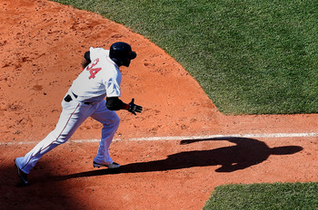 David Ortiz hustles down the first-base line during an April 28 game against the Houston Astros.