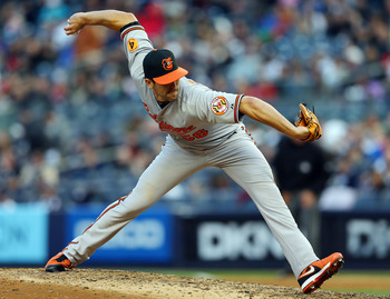 Darren O'Day shows off his unorthodox style during an April 13 game against the New York Yankees.