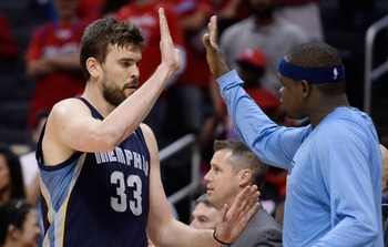 Apr 30, 2013; Los Angeles, CA, USA; Memphis Grizzlies center Marc Gasol (33) gets a high-five from teammate power forward Zach Randolph (50) in the closing seconds of game five of the first round of the 2013 NBA Playoffs against the Los Angeles Clippers a