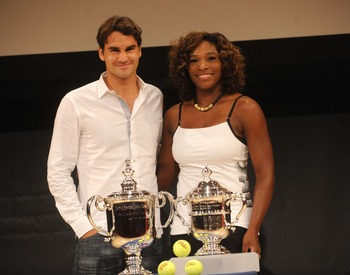 The two champions pose at 2009 U.S. Open draw ceremony.