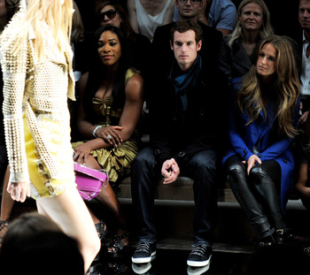 Serena Williams and Andy Murray take in a fashion show.