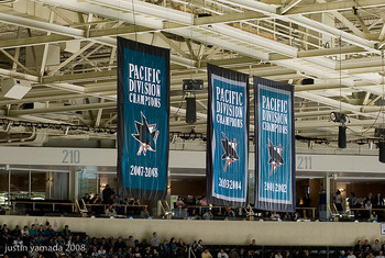 The San Jose Sharks won the next three Pacific Division titles after this photo was taken.