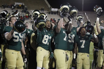 Colorado State celebrates a win.