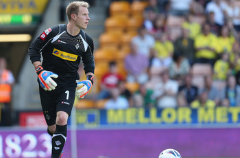 NORWICH, ENGLAND - AUGUST 11:  Marc-Andre Ter Stegen of Borussia Monchengladbach in action during the pre season match between Norwich City and Borussia Monchengladbach at Carrow Road on August 11, 2012 in Norwich, England.  (Photo by Pete Norton/Getty Im