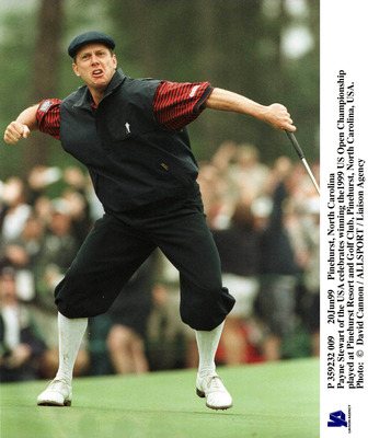 Payne Stewart reacts to winning the 1999 U.S. Open at Pinehurst No. 2.