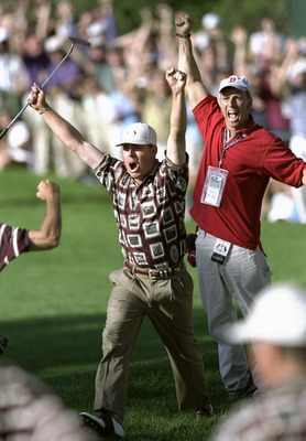 Justin Leonard's 45-foot putt on the 17th hole Sunday in the 1999 Ryder Cup set off a raucous celebration.