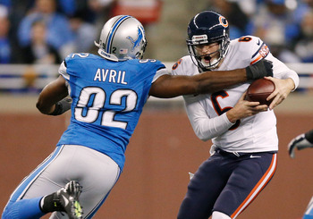 Detroit will miss the pass rush generated by Cliff Avril.
