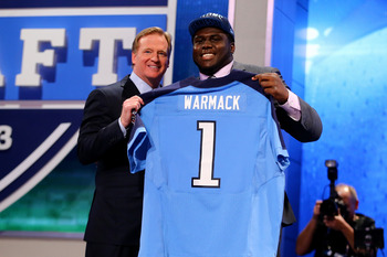 Chance Warmack gives Tennessee and running back Chris Johnson a big body on the offensive line.