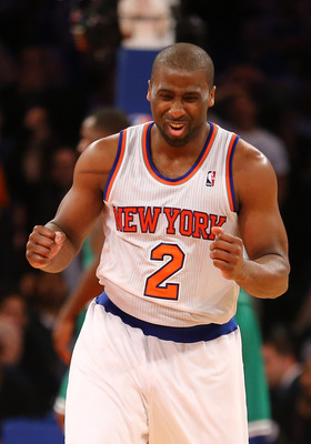 NEW YORK, NY - APRIL 23:  Raymond Felton #2 of the New York Knicks  celebrates during their 87-71 win against the Boston Celtics during Game two of the Eastern Conference Quarterfinals of the 2013 NBA Playoffs at Madison Square Garden on April 23, 2013 in