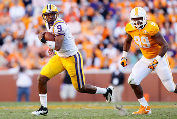 KNOXVILLE, TN - OCTOBER 15:  Jordan Jefferson #9 of the LSU Tigers against Ben Martin #99 of the Tennessee Volunteers at Neyland Stadium on October 15, 2011 in Knoxville, Tennessee.  (Photo by Kevin C. Cox/Getty Images)