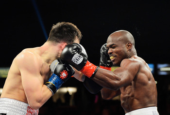 CARSON, CA - MARCH 16:  WBO welterweight champion Timothy Bradley (R) lands a punch against Ruslan Provodnikov, of Russia, in the first round of their WBO welterweight title boxing match at The Home Depot Center on March 16, 2013 in Carson, California.  B