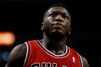 MIAMI, FL - MAY 06: Nate Robinson #2 of the Chicago Bulls looks on against the Miami Heat during Game One of the Eastern Conference Semifinals of the 2013 NBA Playoffs at American Airlines Arena on May 6, 2013 in Miami, Florida. NOTE TO USER: User express
