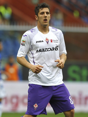 GENOA, ITALY - APRIL 28:  Stevan Jovetic of ACF Fiorentina looks on during the Serie A match between UC Sampdoria and ACF Fiorentina at Stadio Luigi Ferraris on April 28, 2013 in Genoa, Italy.  (Photo by Marco Luzzani/Getty Images)