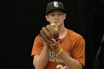 Kohl Stewart is projected to be a top 10-15 pick in the MLB draft, but also has a commitment to Texas A&M to play quarterback. Photo Courtesy of Perfect Game USA.