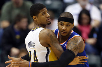Paul George and the Pacers must protect their home court against Carmelo Anthony and the Knicks (photo credit: http://cdn0.sbnation.com/)
