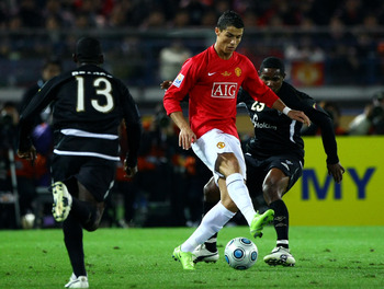 YOKOHAMA, JAPAN - DECEMBER 21:  Cristiano Ronaldo of Manchester United in action during the FIFA Club World Cup Japan 2008 final match between Manchester United and Liga de Quito at the International Stadium Yokohama on December 21, 2008 in Yokohama, Kana