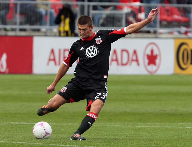 TORONTO, CANADA - OCTOBER 6: Perry Kitchen #23 of DC United moves the ball during MLS action against the Toronto FC at BMO Field October 6, 2012 in Toronto, Ontario, Canada. (Photo by Abelimages/Getty Images)