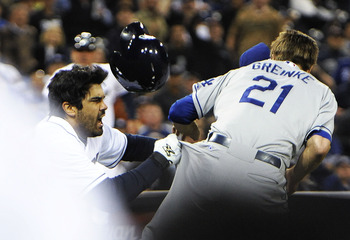 Zack Greinke getting manhandled by the Padres' Carlos Quentin