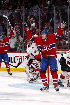 Montreal Canadien Brendan Gallagher celebrates a goal against the Ottawa Senators.