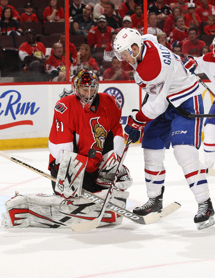 Ottawa Senator Craig Anderson makes a save on Montreal Canadien Alex Galchenyuk.