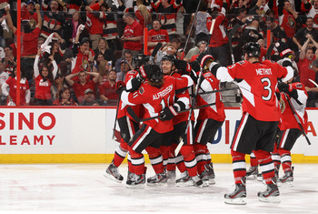 The Ottawa Senators celebrate their Game 4 victory.
