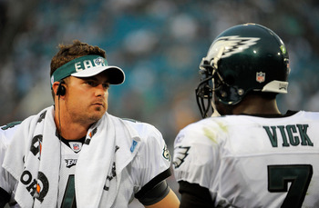 Kevin Kolb was quickly outmatched by Michael Vick.