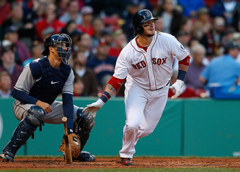 Red Sox catcher Jarrod Saltalamacchia is hitless thus far in the eighth inning of games in 2013.
