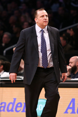 May 4, 2013; Brooklyn, NY, USA; Chicago Bulls head coach Tom Thibodeau on the sidelines against the Brooklyn Nets in game seven of the first round of the 2013 NBA Playoffs at the Barclays Center. Mandatory Credit: Debby Wong-USA TODAY Sports