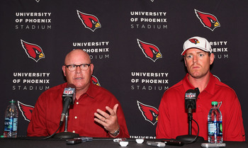 Bruce Arians (left) and Carson Palmer (right) will look to lead Arizona out of the cellar in 2013.