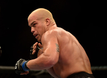 Jul. 7, 2012; Las Vegas, NV, USA; UFC fighter Tito Ortiz during a light heavyweight bout in UFC 148 at the MGM Grand Garden Arena. Mandatory Credit: Mark J. Rebilas-USA TODAY Sports