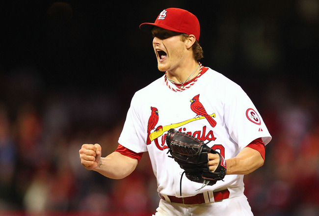 ST. LOUIS, MO - MAY 10: Starter Shelby Miller #40 of the St. Louis Cardinals reacts after throwing the final strike of the game against the Colorado Rockies at Busch Stadium on May 10, 2013 in St. Louis, Missouri.  Miller threw a one-hit, shut-out game to