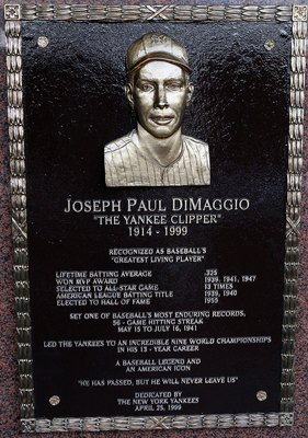 Joe DiMaggio's career .325 batting average places him in a tie for third place on the Yankees all-time list