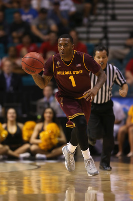 LAS VEGAS, NV - MARCH 14:  Jahii Carson #1 of the Arizona State Sun Devils drives down the court against the UCLA Bruins during the quarterfinals of the Pac 12 Basketball Tournament at the MGM Grand Garden Arena on March 14, 2013 in Las Vegas, Nevada.  (P