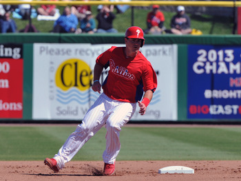 CLEARWATER, FL - MARCH 6:  Catcher Tommy Joseph #73 of the Philadelphia Phillies rounds second base against the Washington Nationals March 6, 2013 at Bright House Field in Clearwater, Florida. (Photo by Al Messerschmidt/Getty Images)