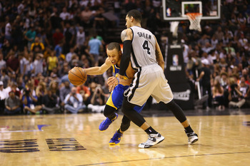 Danny Green's done a great job defending Stephen Curry.