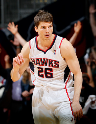 ATLANTA, GA - APRIL 29:  Kyle Korver #26 of the Atlanta Hawks reacts after a hitting a three-poing basket against the Indiana Pacers during Game Four of the Eastern Conference Quarterfinals of the 2013 NBA Playoffs at Philips Arena on April 29, 2013 in At