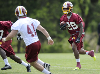 ASHBURN, VA - MAY 5: Bacarri Rambo # 29 of the Washington Redskins runs with the ball during rookie camp at Redskins Park on May 5, 2013 in Ashburn, Virginia. (Photo by Nick Wass/Getty Images)