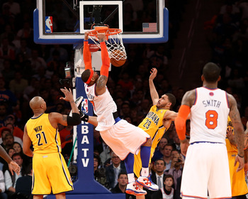 Jeff Pendergraph (seen here fouling the Knicks' Carmelo Anthony on a dunk in Game 2) has been a non-factor in the second round.
