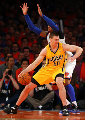 Tyler Hansbrough has been the only frontcourt player capable of logging quality minutes off the Pacers bench in the second round.
