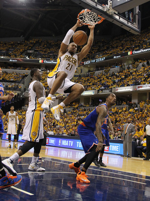 David West slams one home in Game 3, which the Pacers won, 82-71.