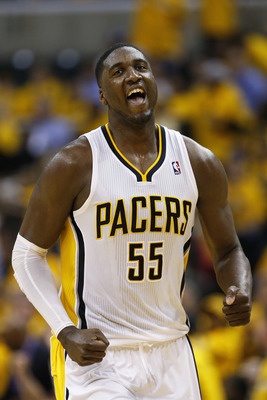 Roy Hibbert is all smiles after the Pacers' Game 3 win at home.